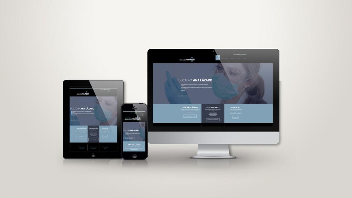 Web responsive de Doctora ana Lázaro vista en tres pantallas, tablet, móvil y ordenador