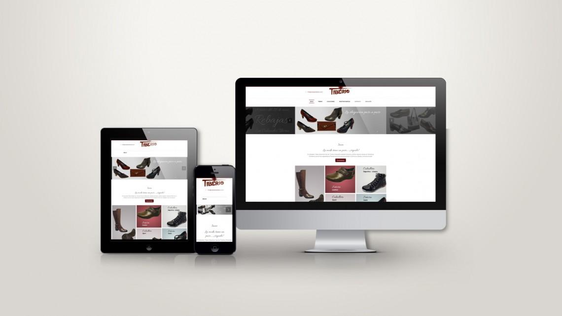 Web responsive de Calzados Tiberio vista en tres pantallas, tablet, móvil y ordenador