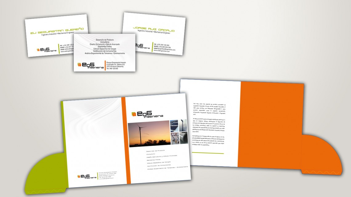 Diseño de papalería, carpeta y tarjetas de visita para Eo6 ingeniería