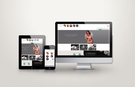 Web responsive de Selene vista en tres pantallas, tablet, móvil y ordenador