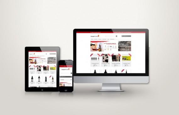 Web responsive de bouquet brands vista en tres pantallas, tablet, móvil y ordenador