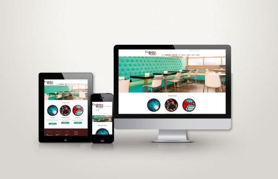 web responsive de gastrobar moka vista en tres pantallas, tablet, móvil y ordenador
