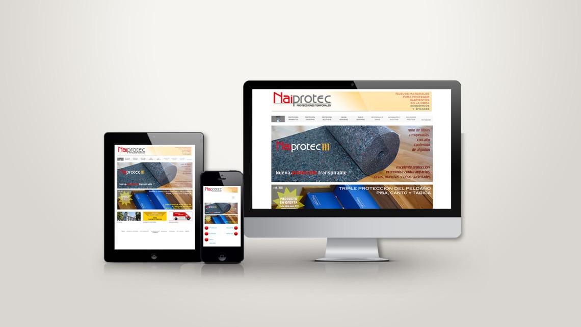 web responsive de Naiprotec vista en tres pantallas, tablet, móvil y ordenador