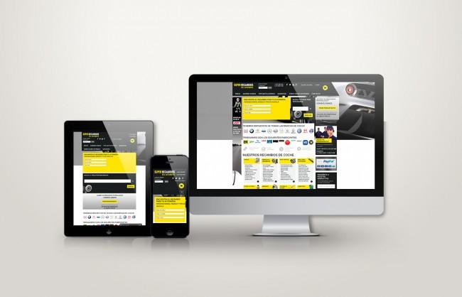 Web responsive de superrecambios vista en tres pantallas, tablet, móvil y ordenador