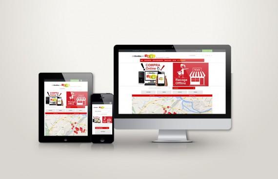 Web responsive de De tiendas por Irún vista en tres pantallas, tablet, móvil y ordenador