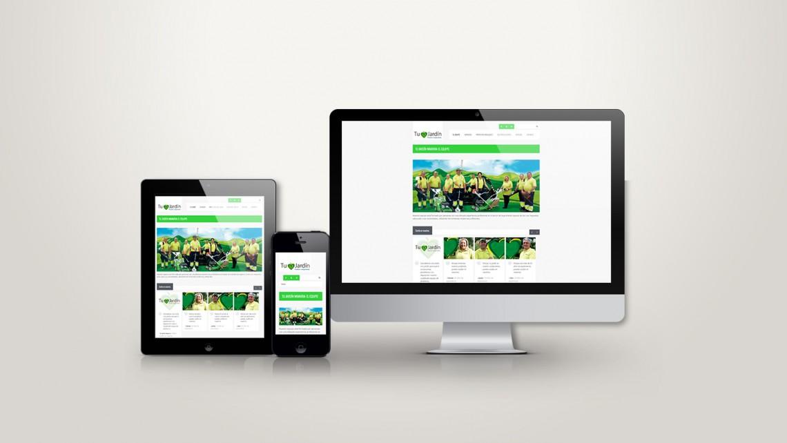 Web responsive de Tu jardín vista en tres pantallas, tablet, móvil y ordenador