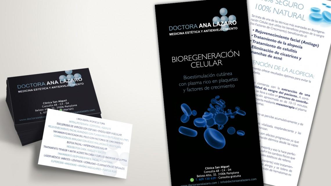 diseño de identidad corporartiva para ana lazaro, elementos promocionales, flyer, tarjetas