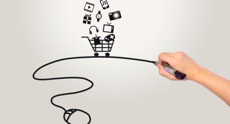 dibujo a rotulador que relaciona una tienda online con nuestro ordenador, a través del cual podemos comprar en ella
