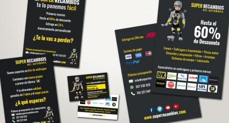 Identidad corporativa de superrecambios, tarjetas y mailings
