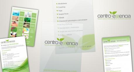 diseño de identidad corporartiva para centro essencia, elementos promocionales, flyer, carteles, mailing
