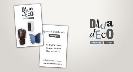 diseño de identidad corporartiva para dadadeco, reportaje fotográfico, tarjetas,..