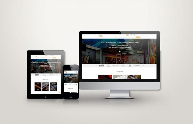 web responsive de luminososo arga vista en tres pantallas, tablet, móvil y ordenador