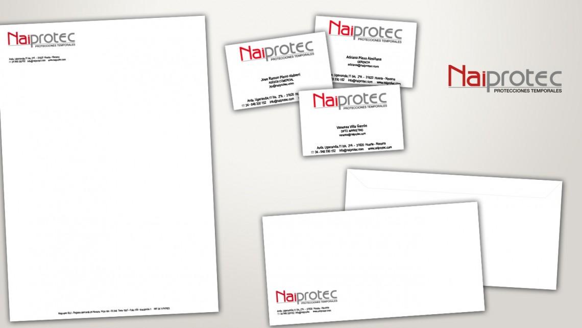 Diseño de papelería para Naiprotec, identidad corporativa, tarjetas,...