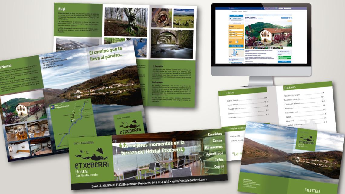 diseño de identidad corporartiva para hostal etxeberri, elementos promocionales, carta, tríptico, anuncio, página de booking vista desde un mac