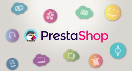 banner de prestashop con iconos de diferentes productos, ropa, tecnología, música, electrónica