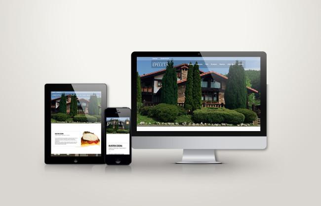 web responsive de Epeleta vista en tres pantallas, tablet, móvil y ordenador